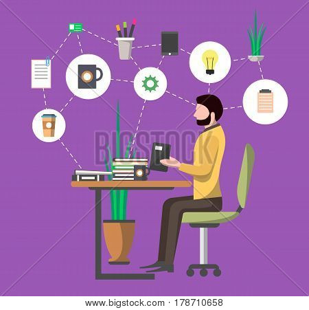 Young man in office workplace working on tablet computer at table vector illustration. Business workflow infographics, self organization, time management skills concept. Business people in flat design
