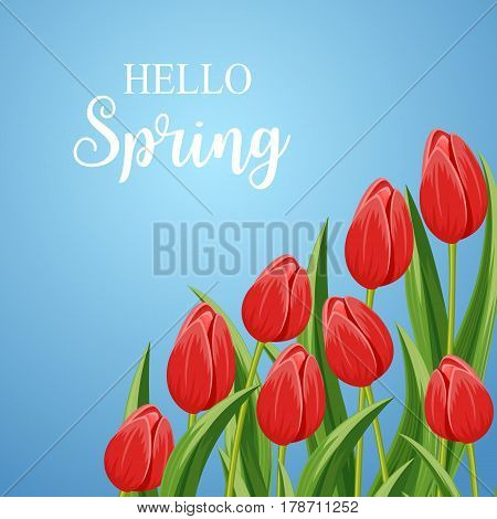 Spring banner with red blooming tulip flower and copy space vector illustration. Floral decorated spring design for holiday, seasonal romantic celebration greeting card, nature feast congratulation