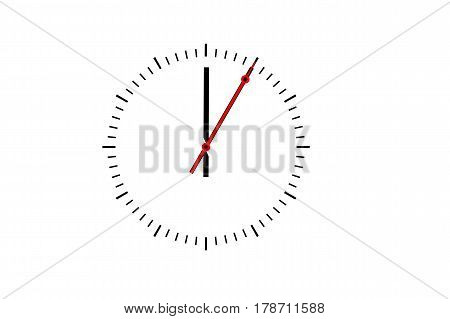 Clock dial with a minute hand and a red second hand indicates 12 o'clock. Copy space against white background.