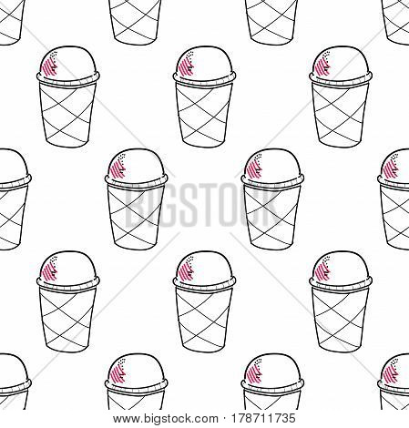 Seamless doodle ice cream pattern, hand-drawn monochrome background with pink accent, ice-cream vector, ice cream background, EPS 8