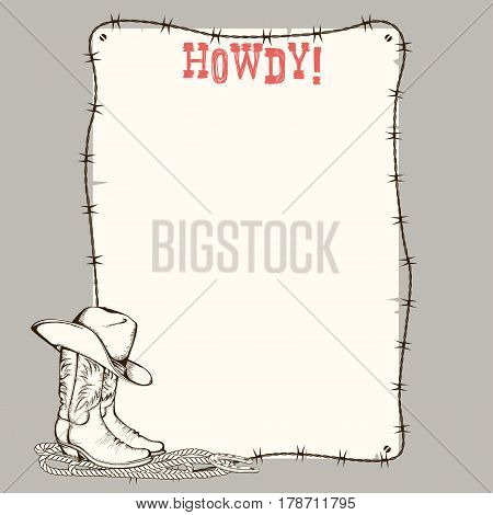 Cowboy Paper Background With Western Boots And Hat For Text