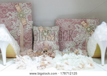 A lot of beautiful bright wedding decorations
