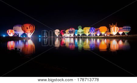 CHIANG RAI THAILAND - FEBRUARY 18 2017: Balloon Magic Night Glow at SINGHA PARK CHIANG RAI BALLOON FIESTA 2017 Chiang rai province Thailand.
