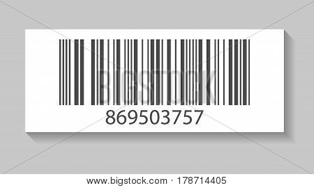 Realistic store barcode vector illustration isolated on white background. Market mark symbol, retail product sticker template.