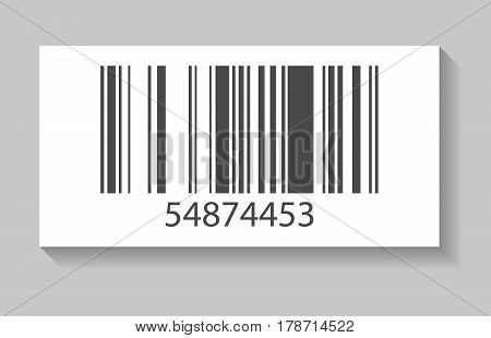 Supermarket barcode vector illustration isolated on white background. Market mark symbol, retail product sticker template.