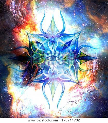 Ornamental mandala in cosmic space, Third Eye Chakra