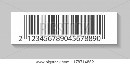 Realistic price barcode vector illustration isolated on white background. Market mark symbol, retail product sticker template.