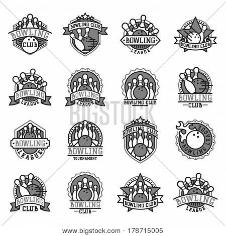 Vector bowling logo emblem black white and design element logotype template badge item design for sport league teams success equipment champion illustration. Tournament skittles activity goal game.