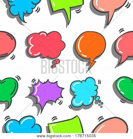 vector illustration text balloon doodles collection stock