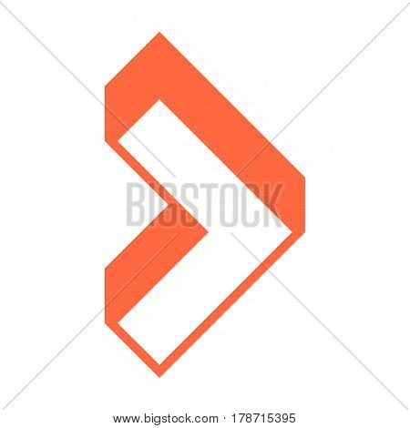 Use it in all your designs. 3d arrow sign three dimensional icon navigation button pointer symbol in flat style. Quick and easy recolorable vector illustration a graphic element for design