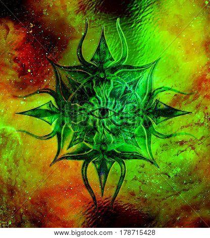 Ornamental mandala in cosmic space, Third Eye Chakra. Glass effect