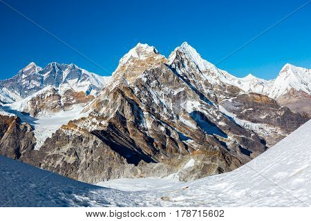 Majestic evening View of Scenery in Nepal Himalaya Mountains with high Altitude Peaks and Glaciers