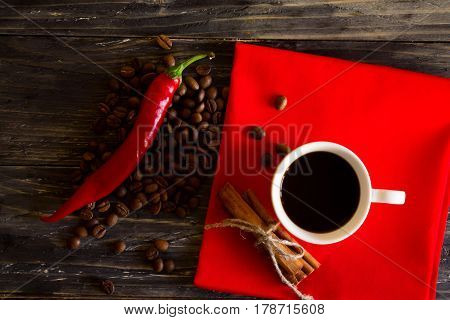 Coffee With Red Pepper And Cinnamon. Delicious And Healthy Drink.