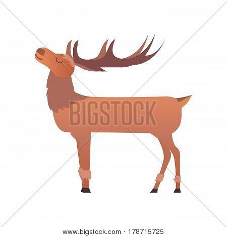 Christmas reindeer holiday mammal deer xmas celebration cute decoration winter art new year wildlife animal character vector illustration. Cartoon antler beautiful brown forest horn.
