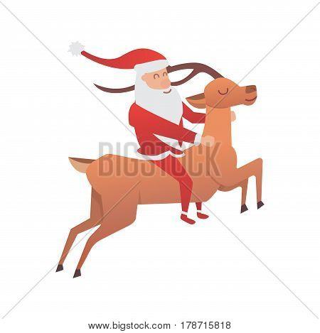Christmas reindeer holiday mammal deer xmas celebration cute decoration winter art new year wildlife animal and santa man character vector illustration. Cartoon antler beautiful brown forest horn.