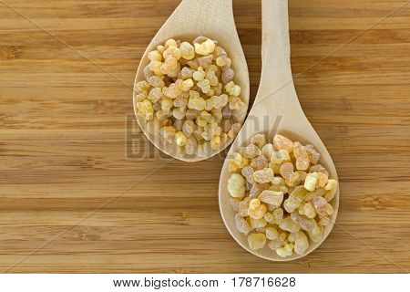 Wooden spoon of Aromatic yellow resin gum from Sudanese Frankincense tree, incense made by slashing bark of Boswellia sacra tree in Etiopia on wooden background with copyspace