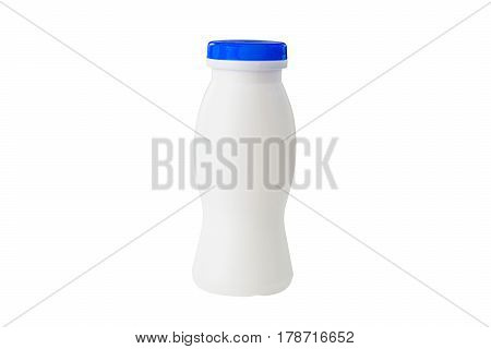 White Bottle For Dairy Products Isolated On White