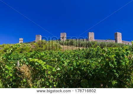 Monteriggioni medieval town in Tuscany Italy - architecture background