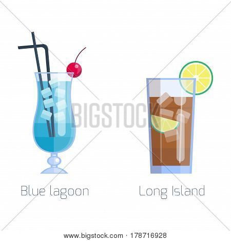 Set of alcoholic cocktails isolated fruit cold drinks tropical cosmopolitan freshness and party alcohol sweet tequila vector illustration. Juice with refreshment rum restaurant beverage.