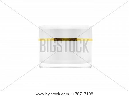 blank packaging white cosmetic cream pot isolated on white background with clipping path ready for product design