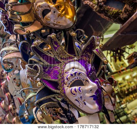 Collection of venetian festival masks. Very colorful traditional masks used in time of carnival masquerade.The Carnival ends with the Christian celebration of Lent forty days before Easter on Shrove Tuesday. he festival is world famous for its elaborate m