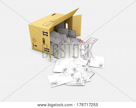 3d illustration of box with letters in, isolated on white background