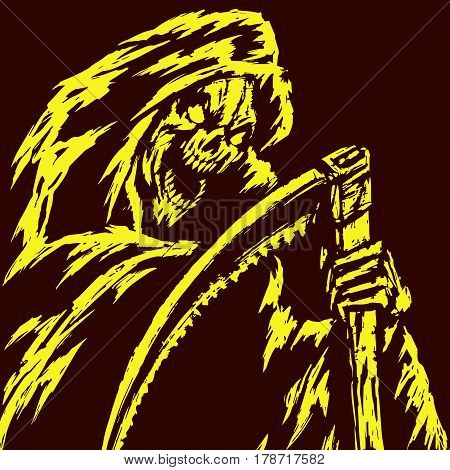 Death with a Scythe.Grim Reaper. Vector Illustration.