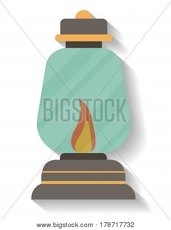 Vintage camping lantern icon vector illustration isolated on white background. Campsite equipment in flat design. Hiking traveling, nature vacation concept.