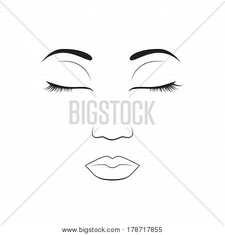 Girl emotion face sleep cartoon vector illustration and woman emoji icon cute symbol character human expression sign female avatar tongue feeling. Facial mood doodle design black whithe line.