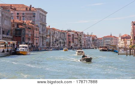 Facades Of Residential Buildings Overlooking Grand Canal In Venice, Italy.