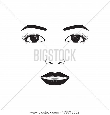 Girl emotion face laugh cartoon vector illustration and woman emoji icon cute symbol character human expression sign female avatar tongue feeling. Facial mood doodle design black whithe line.
