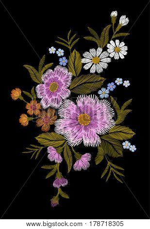 Embroidery Colorful Floral Pattern With Dog Roses And Forget Me Not Flowers. Vector Traditional Folk