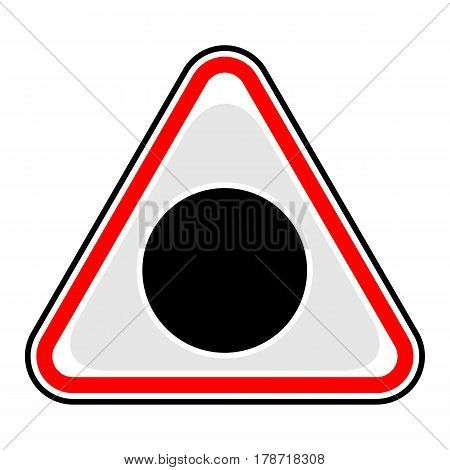 Use it in all your designs. Red and black triangular sticker with black hole sign. Triangle hazard warning danger symbol. Quick and easy recolorable vector illustration