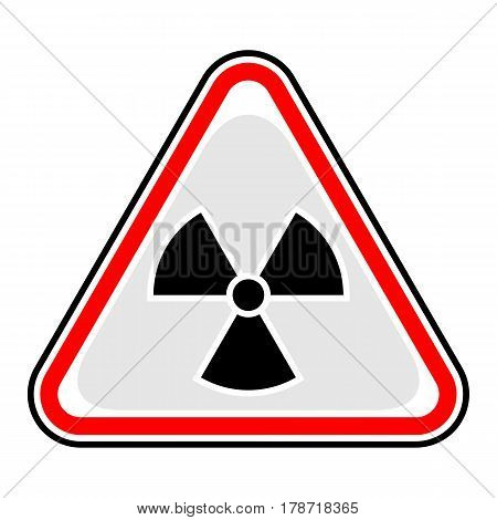 Use it in all your designs. Red and black triangular sticker with ionising radiation sign. Triangle hazard warning danger symbol. Quick and easy recolorable vector illustration