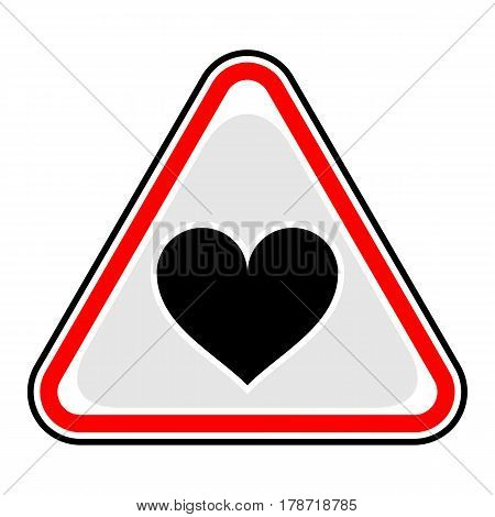 Use it in all your designs. Red and black triangular sticker with heart sign. Triangle hazard warning danger symbol. Quick and easy recolorable vector illustration