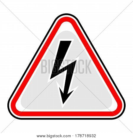 Use it in all your designs. Red and black triangular sticker with high voltage lightning sign. Triangle hazard warning danger symbol. Quick and easy recolorable vector illustration