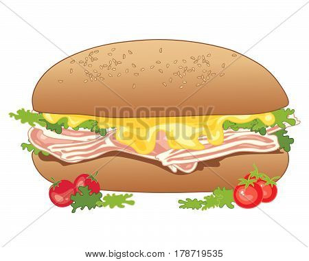 an illustration of a long sandwich with bacon rashers cheese lettuce and tomato on a white background