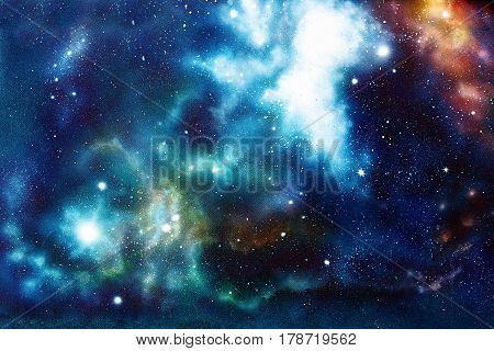Cosmic space and stars, color cosmic abstract background. Original hand painting