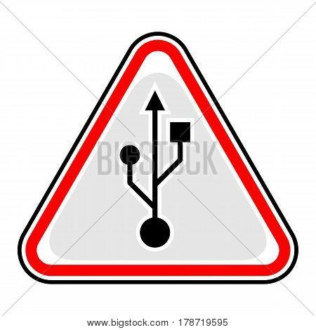Use it in all your designs. Red and black triangular sticker with USB Universal Serial Bus port sign. Triangle hazard warning danger symbol. Quick and easy recolorable vector illustration