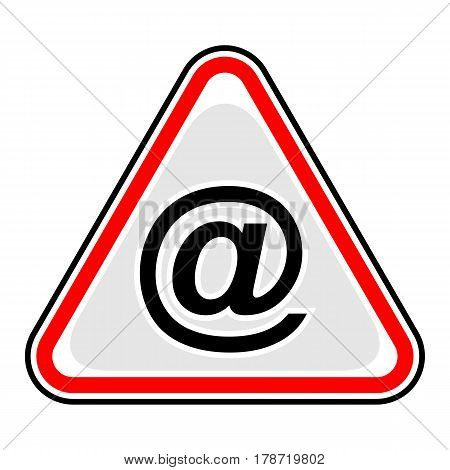 Use it in all your designs. Red and black triangular sticker with commercial at symbol. Triangle hazard warning danger sign. Quick and easy recolorable vector illustration