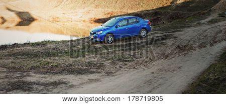 Gomel, Belarus - March 25, 2017: Renault Logan Is Parked On The Roadside.