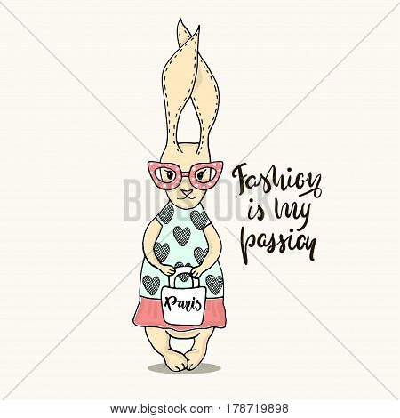 Cute little bunny girl with bag. Hand Sketched cartoon rabbit. Great for baby t-shirt print kids wear baby showerfashion print designpostercards. Vector illustration