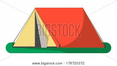 Triangle camping tent icon isolated on white background vector illustration. Campsite equipment in flat design. Hiking traveling, nature vacation concept.