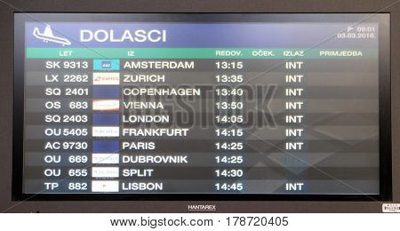 ZAGREB, CROATIA - MARCH 03: Flight board at the airport in Zagreb airport, on March 03, 2016 in Zagreb, Croatia.