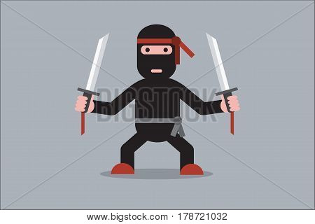 Ninja cartoon character. Ninja in black mask's clothes. Flat style vector illustration.