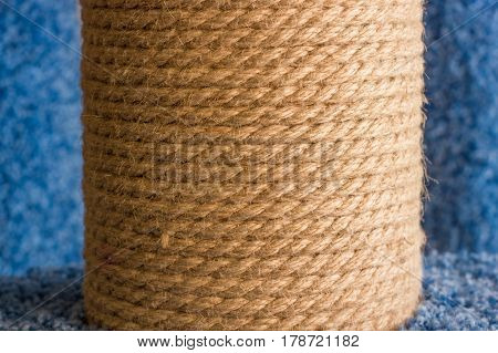 the image of fluffy natural rope tightly wound