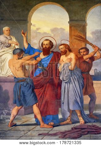 ROME, ITALY - SEPTEMBER 05: The fresco with the image of the life of St. Paul: Paul and Silas are Whipped in Philippi, basilica of Saint Paul Outside the Walls, Rome, Italy on September 05, 2016.