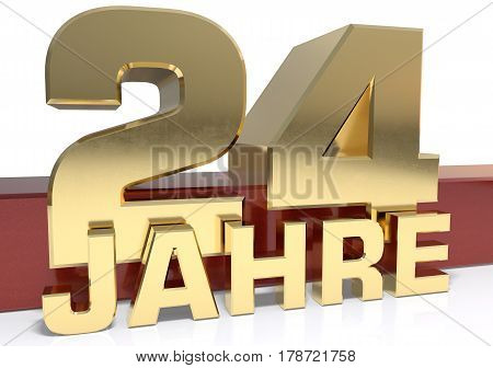 Golden digit twenty four and the word of the year. Translated from the German - years.3D illustration