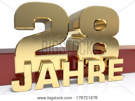 Golden digit twenty eight and the word of the year. Translated from the German - years.3D illustration