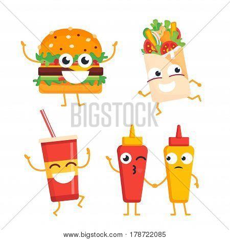 Fast Food Characters - modern vector template set of mascot illustrations. Gift images of burger, shawarma, soft drink, ketchup, mustard dancing, standing, waving and smiling
